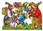 Victorian Die Cut Easter Rabbits Fabric Block Multi Szs FrEE ShiPPinG WoRld WiDE