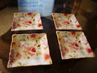 222 FIFTH FLORAL FETE  SQUARE SPRING PLATES SET OF 4