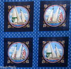 Joan Messmore Cranston cotton fabric panel Sailboat pillow 4 blocks 15
