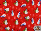 Fleece Printed SNOW MAN RED Fabric sold by the yard