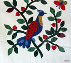 Fabric Panel applique wreath floral bird pillow block cotton Cranston cheater