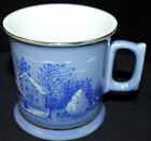Vintage Currier & Ives Farmer's Home Winter Cup Mug Glass Rare Light Color Snow