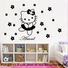HELLO KITTY fairy Personalised name sticker Girl room decal Kids bedroom wall