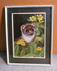 Artist Signed Ferret with Flowers Framed Matted Painting on Board Adorable
