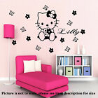 Personalised name sticker HELLO KITTY Fairy Girl room decals Kids bedroom wall