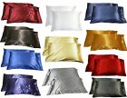 2pc New Queen Standard Silk y Satin Pillow Case Multiple Colors