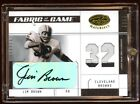JIM BROWN 2003 CERTIFIED AUTO PATCH LOGO 32 FABRIC OF THE GAME RARE BROWNS HOF