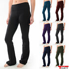 YOGA Fitness Foldover Pants Flare Leg Long Womens Athletic Workout Gym T Party