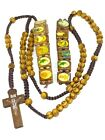 Rosary - wood Beads Rosary Necklace with Two Rosary Bracelets Crucifix Necklace