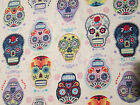 SKULLS DAY OF THE DEAD MOTORCLES COLORS ROCK COTTON FABRIC BTHY