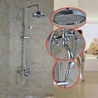 Chrome Wall Mount Bathroom Shower Mixer Tap Faucet Dual Handle W/Tub Faucet Set