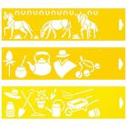 Set of 3 Stencils Cake Wall Airbrush Decorating Drawing Template Gaucho Farm