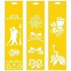 Set of 3 Stencils Cake Wall Airbrush Decorating Drawing Template Romantic Ribbon