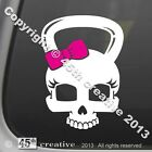 Girls Skull Kettlebell Crossfit Decal exercise gear equipment pink bow sticker