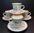 Mikasa Blue Daisies Set of 4 Cups & Saucers Blue Floral flowers EB804 Japan