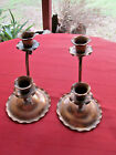 PAIR OF 2 TAPER GREGORIAN COPPER HAND HAMMERED CANDLESTICKS 412 SIGNED 6