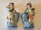PAIR ANTIQUE BISQUE FIGURINES EACH WITH ATTACHED VASE FRENCH GENTLEMAN