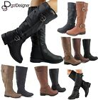 NEW Womens Fashion Shoes Knee High Riding Flat Boots Cowboy Slouch Military HOT