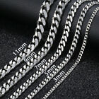 18 36 MENS Stainless Steel 3 5 7 9 11mm Silver Tone Cuban Curb Chain Necklace