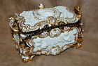 Ornate Italian DG Porcelain Rococo Cherubs Hand Painted Reticulated Covered Box