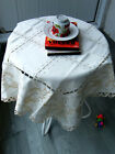 Vintage Ivory White Embroidered Square Xmas Tablecloth 34 86cm