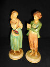 Pair of Large Antique or Vintage Italian Figurines Borghese Chalkware