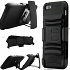 iPHONE 5 5S 5G HARD SOFT COMBO RUBBER SKIN HEAVY CASE COVER BLACK STAND