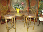 3 pc Antique French carved gilt wood/Marble parlor  Coffee 2 gueridons/Tables