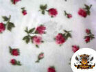 Fleece Printed Fabric FLORAL RED ROSES 58 Wide Sold by the Yard