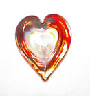 SIGNED ART GLASS PAPERWEIGHT HEART SHAPE RED O4
