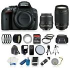 NEW Nikon D5300 Digital SLR Camera +8 Lens 18 55mm VR 70 300 + 32GB Complete Kit