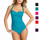 2 Pieces Tied-up Halter Tankini Top with Bikini Bottom Swimwear Swmsuit sw1006