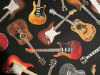 GUITAR CLASSIC ROCK MUSIC NOTES BLACK COTTON FABRIC BTHY