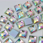 30 100PCS Clear AB Color Acrylic Square Rhinestone Gems Crystal Flatback beads