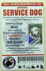 SERVICE DOG ID CARD BADGE ASSISTANCE ANIMAL ADA TAG SERVICE ANIMAL 0 R
