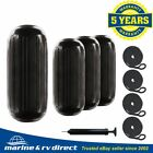 4 NEW RIBBED BOAT FENDERS 10 x 28 BLACK CENTER HOLE BUMPERS MOORING PROTECTION