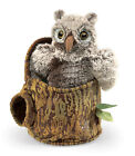 Owlet in Tree Stump Hand Puppet Moveable Wings & Head by Folkmanis T3035 NWT