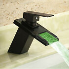 Oil Rubbed Bronze LED Bath Waterfall Vessel Sink Faucet Single Handle Mixer Tap