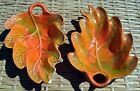 Vintage Pair 1960's California Pottery Orange Leaf Bowl Serving Candy Dish Green
