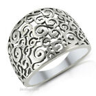 Stunning 925 Sterling Silver Wide SPIRAL FILIGREE SWIRL Band Ring Sz 5-11