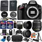 Nikon D3200 Digital SLR DSLR Camera + 3 Lens 18 55mm + 24GB KIT