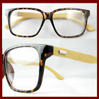 TORTOISE men women LARGE EYEGLASS FRAMES OPTICA PLASTIC+BAMBOO TEMPLE FASHION