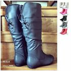 New Women Riding Knee High Boots Flat Heel Fashion Faux Leather Shoes Size 5-10
