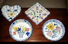 4 DECORATIVE HAND PAINTED PORCELAIN FLAN SOUFFLE DISHES