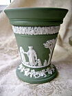 LOVELY WEDGWOOD SAGE GREEN JASPERWARE ARCADIAN VASE WITH FROG INSERT