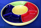 VINTAGE (7) PIECE SNACK SERVING TRAY - MULTI COLOR - 6 INSERTS - ESTATE FIND