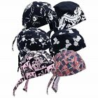 6pc Set Cotton Biker SKULL CAPS Motorcycle Bandana Head Wrap Du Doo Do Rag Black