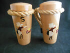 Vintage Cherry Wood  Salt and Pepper Shakers with Rope Handles made in Japan