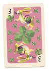 Single Vintage Playing Card -Rabbits Bunnies on Clover-Whitman Hearts Game -1951
