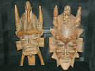 2 Antique Asian Hand Carved Wood Wall Masks - Japanese Chinese ? Folk Art old